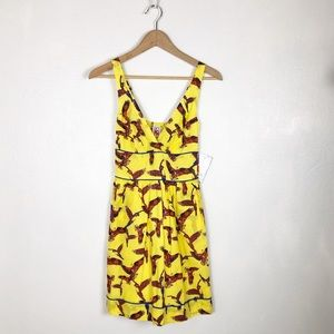 Lucy Love yellow parrot print dress